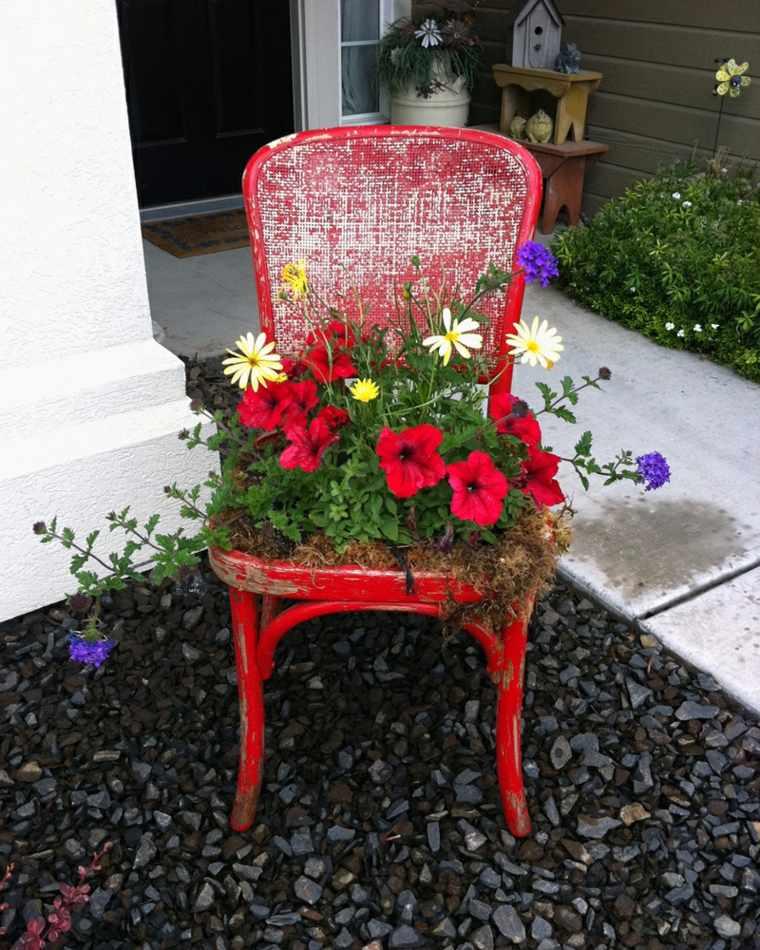 déco jardin récup chaise bac à fleurs