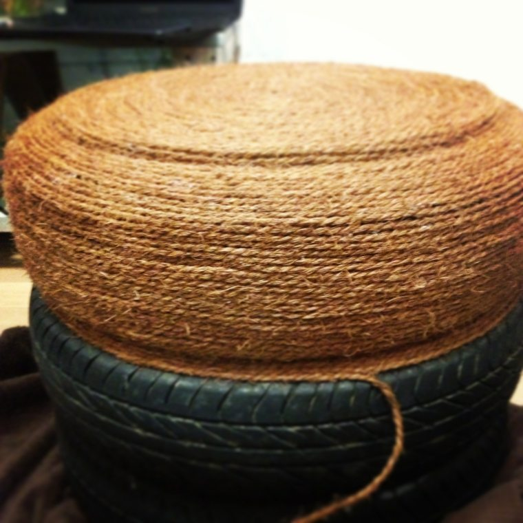 diy pneu recup idée corde faire un pouf fabriquer soi-même