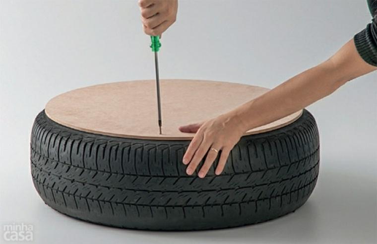 fabriquer un pouf idée recup vieux pneus