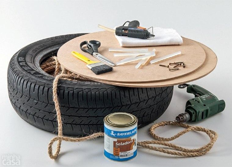 idée fabriquer pouf diy contre-plaqué vieux pneu diy