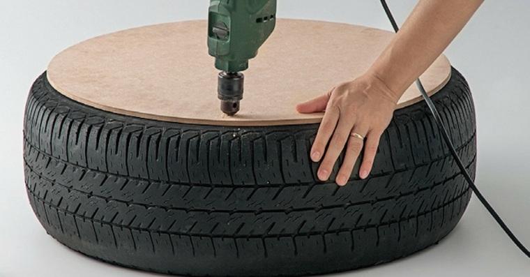 fabriquer un pouf design vieux pneu recycler idée tendance
