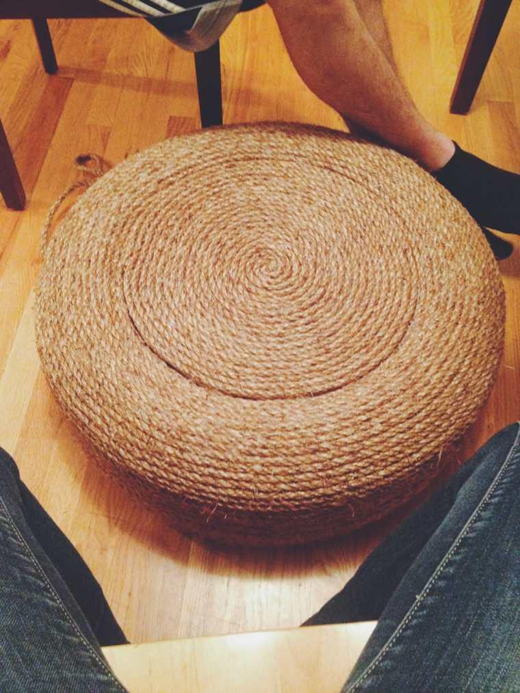 pouf diy idée original réaliser un pouf corde pneu recup recycler