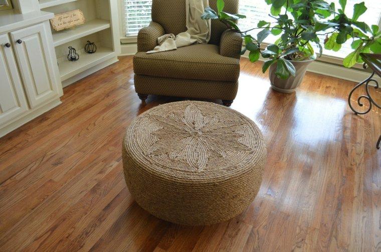 pouf diy idée pneu recup bricoler table basse pneu pouf corde