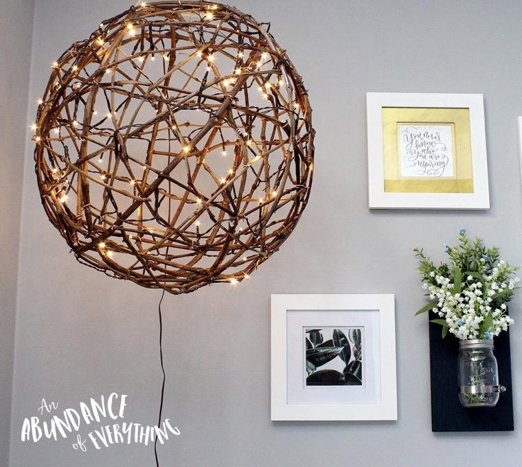 luminaire diy branchettes de bois