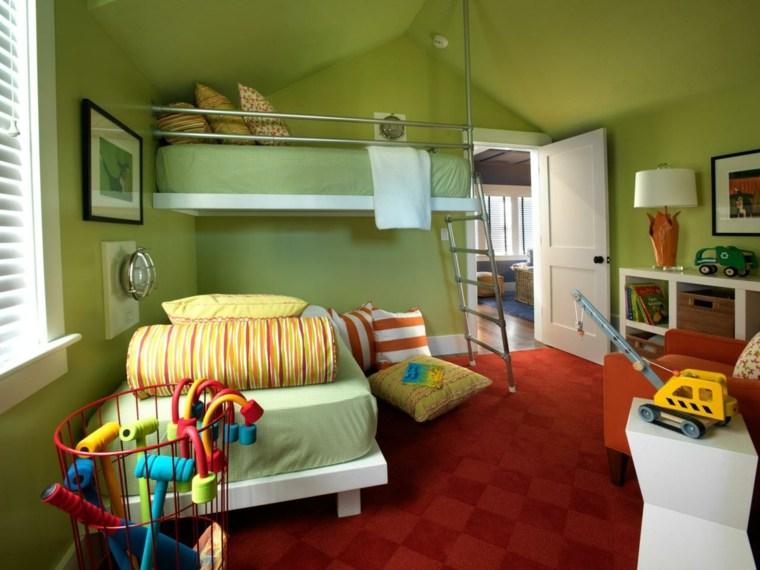 couleur primaire chambre enfant vert tapis rouge