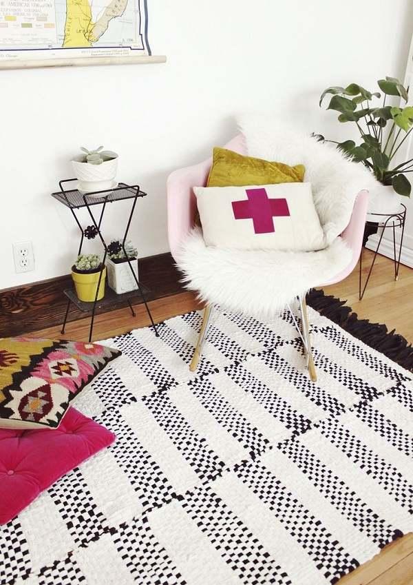 Un tapis tissé idéal pour une salle de bains