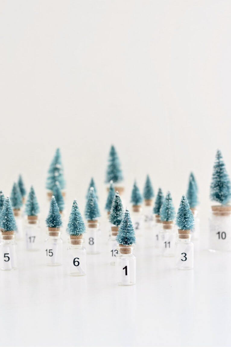 Calendrier de l'Avent pour les arbres de la brosse à bouteilles