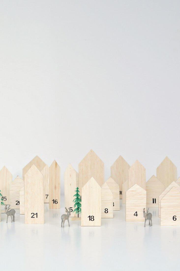 Calendrier de l'Avent des maisons en bois