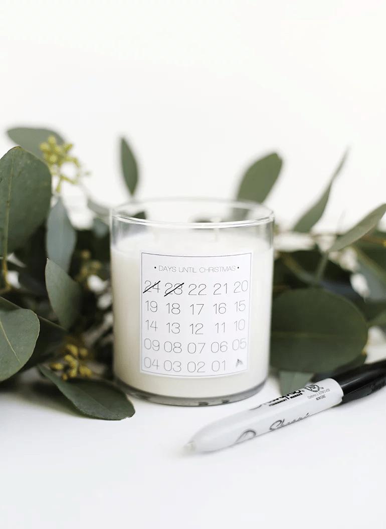 Bougie calendrier de l'avant de Noël
