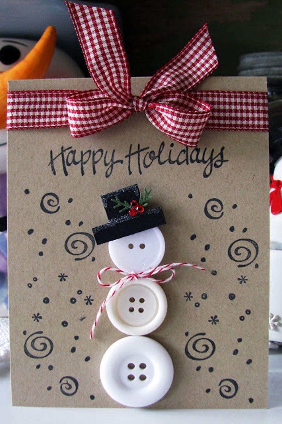 Carte Bonhomme de neige à boutons