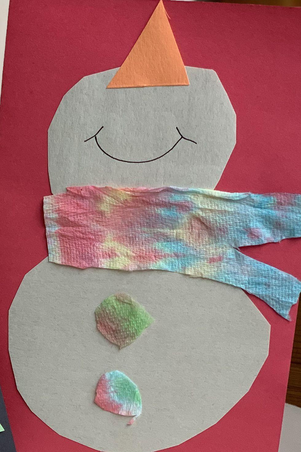 Carte Bonhomme de neige à colorier