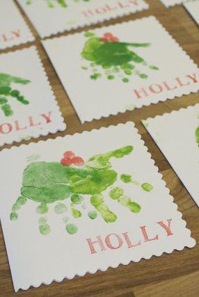 Carte Holly imprimée à la main