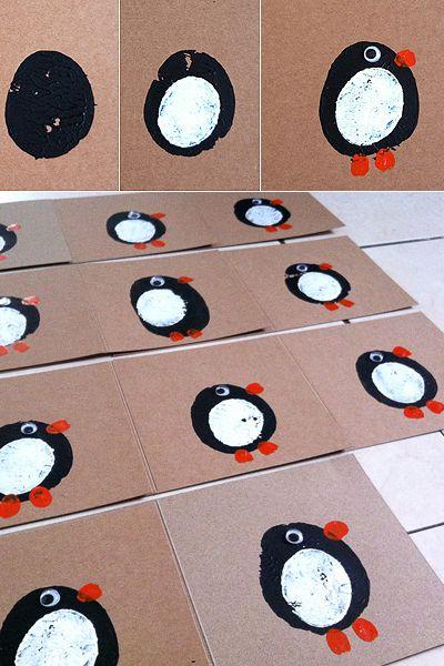 Carte pingouin imprimée à la pomme de terre