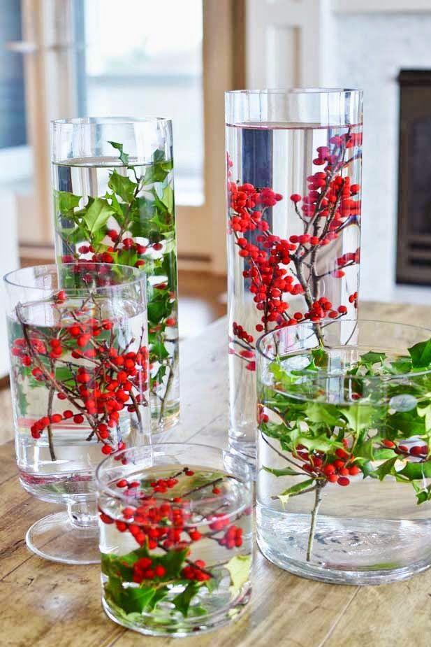 Décoration table de noel avec Flore flottante festive