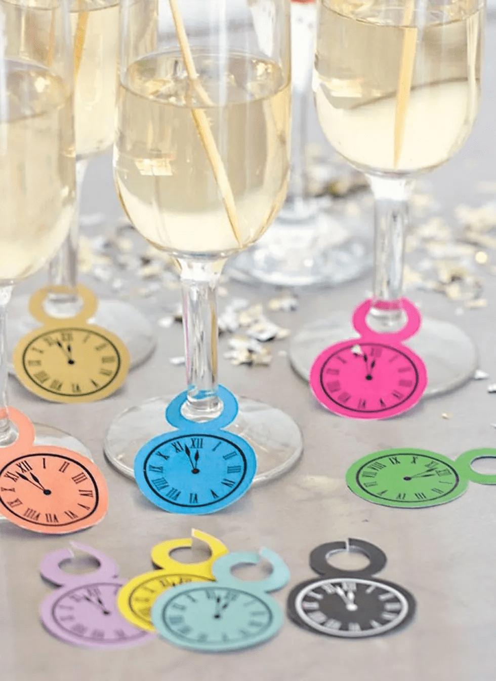 Étiquettes de verres à champagne