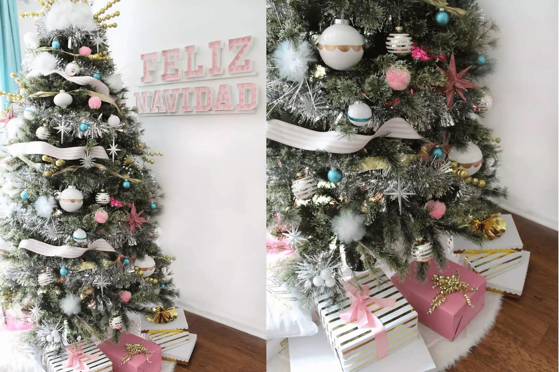 Arbre Pastel Feliz Navidad avec des cadeaux en dessous