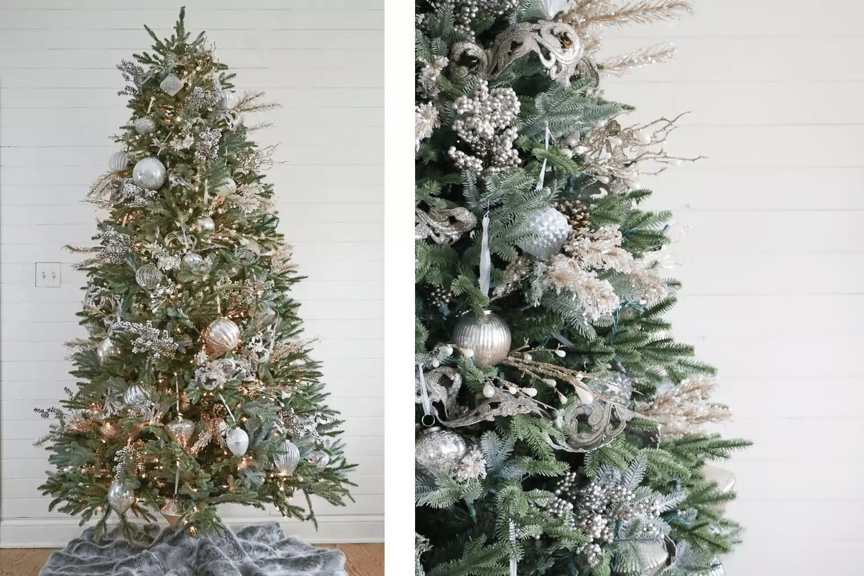 Arbre de Noël avec des décorations en argent