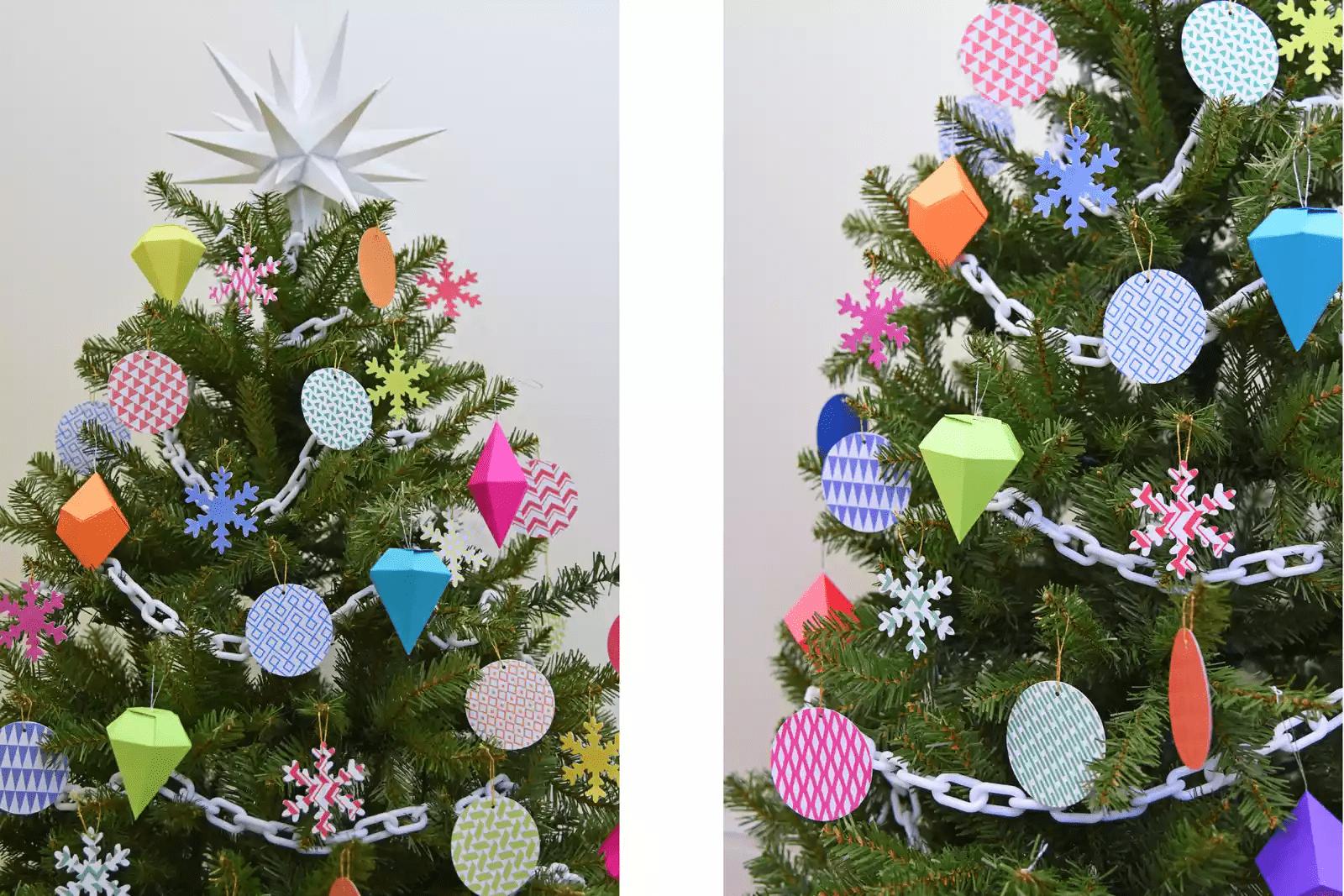 Arbre de Noël avec des décorations en papier