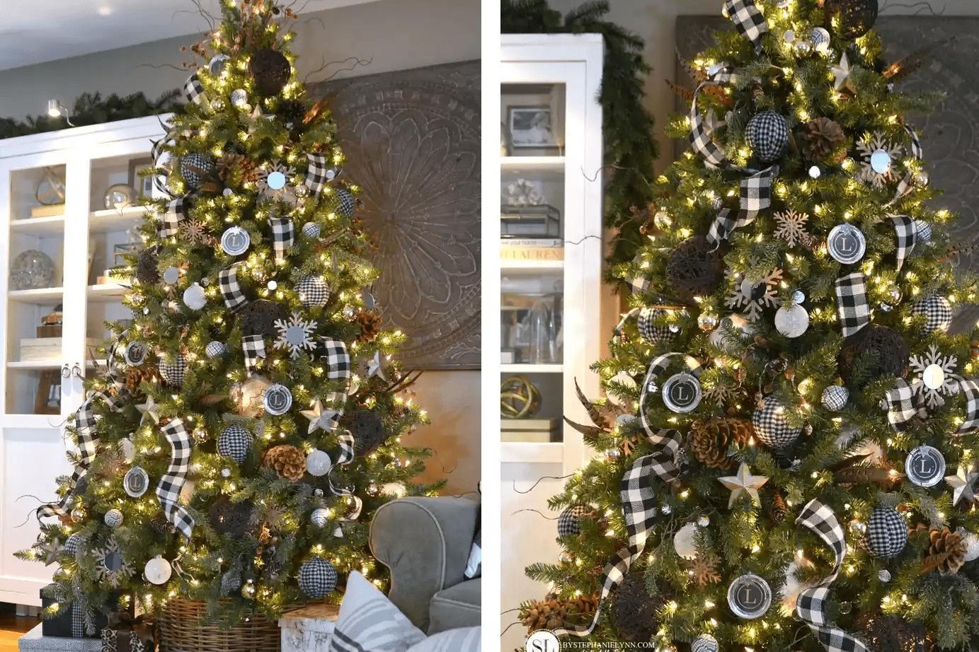 Arbre de Noël avec guirlande de vichy noir