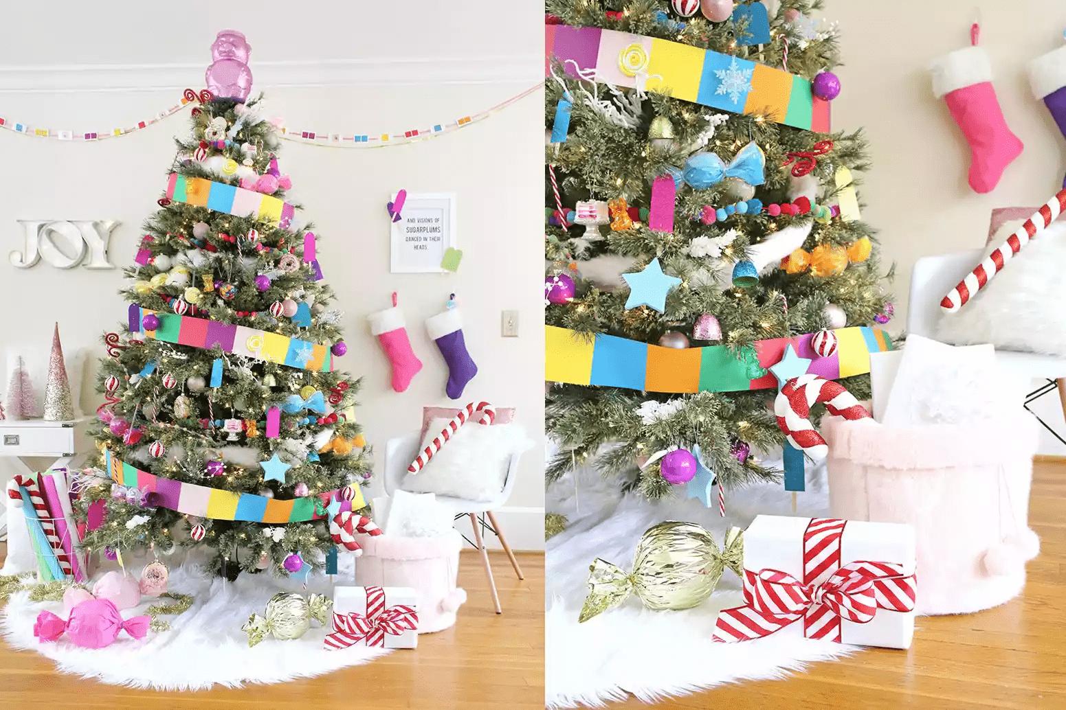 Arbre de Noël décoré de bonbons