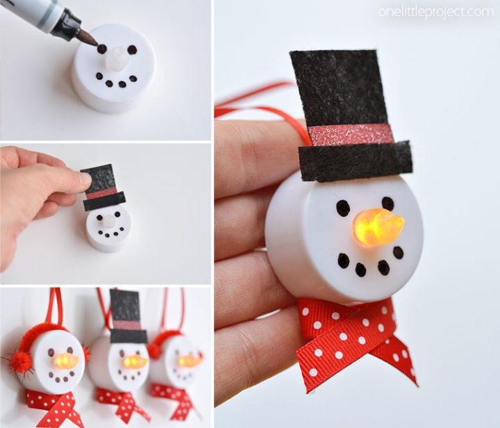Décorations du bonhomme de neige en forme de lampe à thé