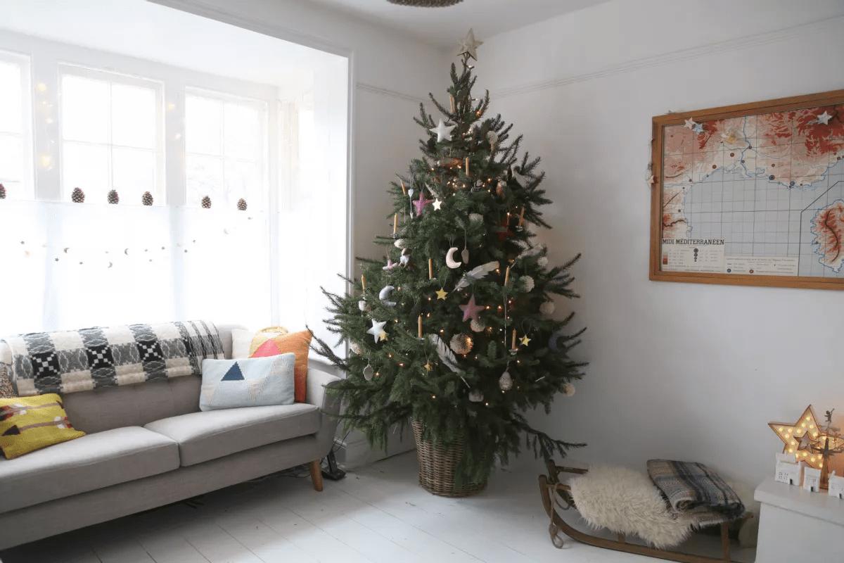 Enfant ami - Arbre de Noël près d'un canapé et carte montée