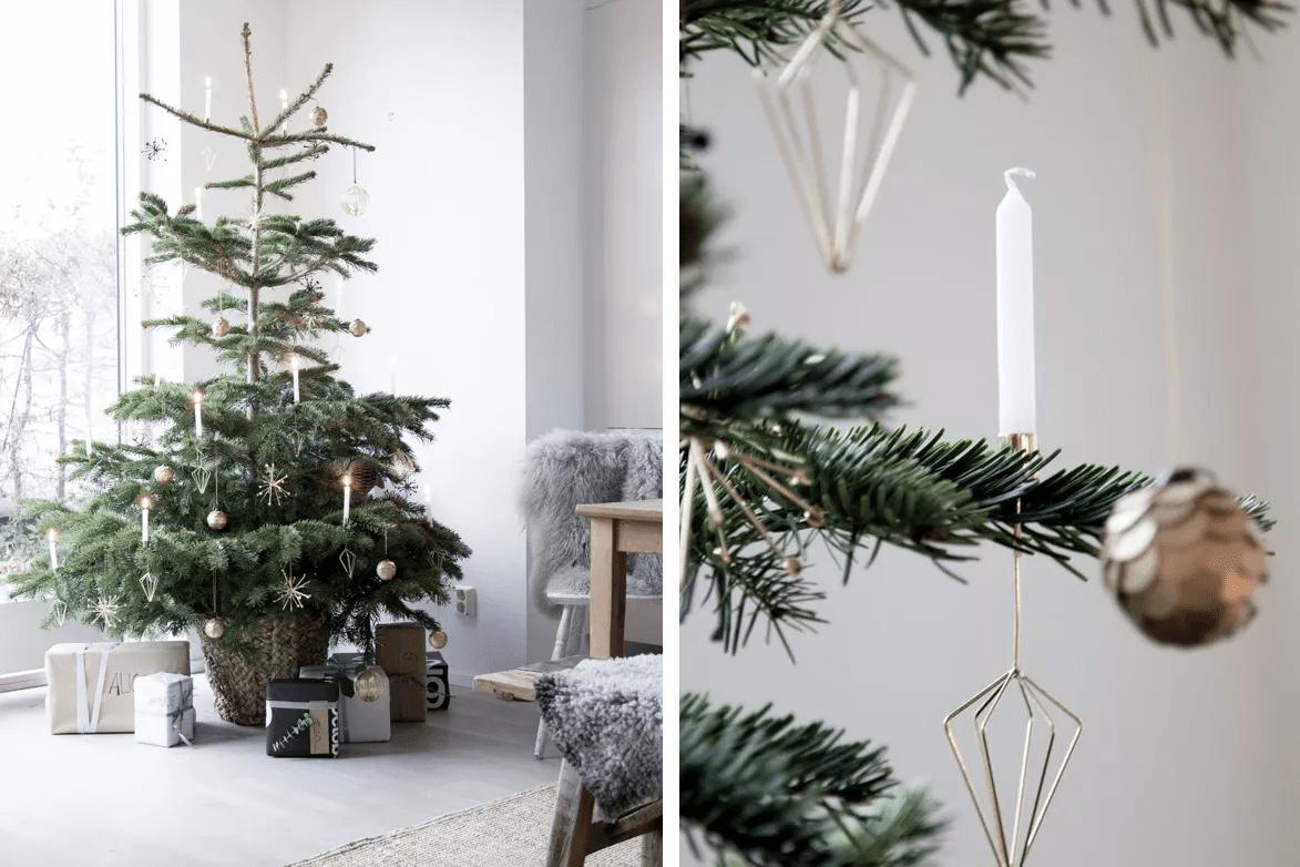 Un arbre de Noël minimaliste avec des bougies