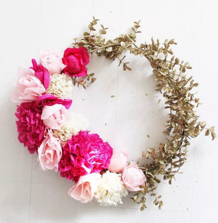 Couronne de fleurs en papier DIY