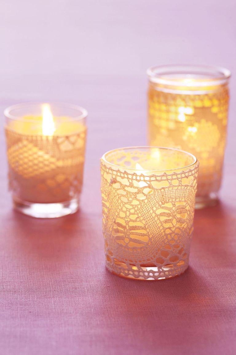 Bougies votives en dentelle
