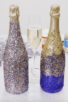 Bouteille de champagne pailleté