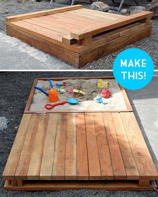 DIY Bac à sable couvert pour les enfants
