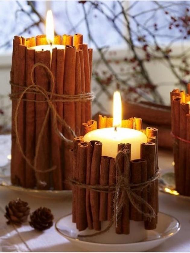 Piliers de bougie fabriqués à partir de bâtons de cannelle