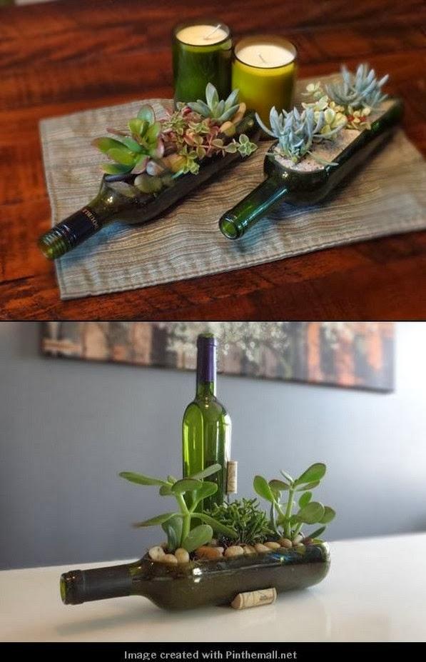 Transformez vos bouteilles de vin en petits jardins