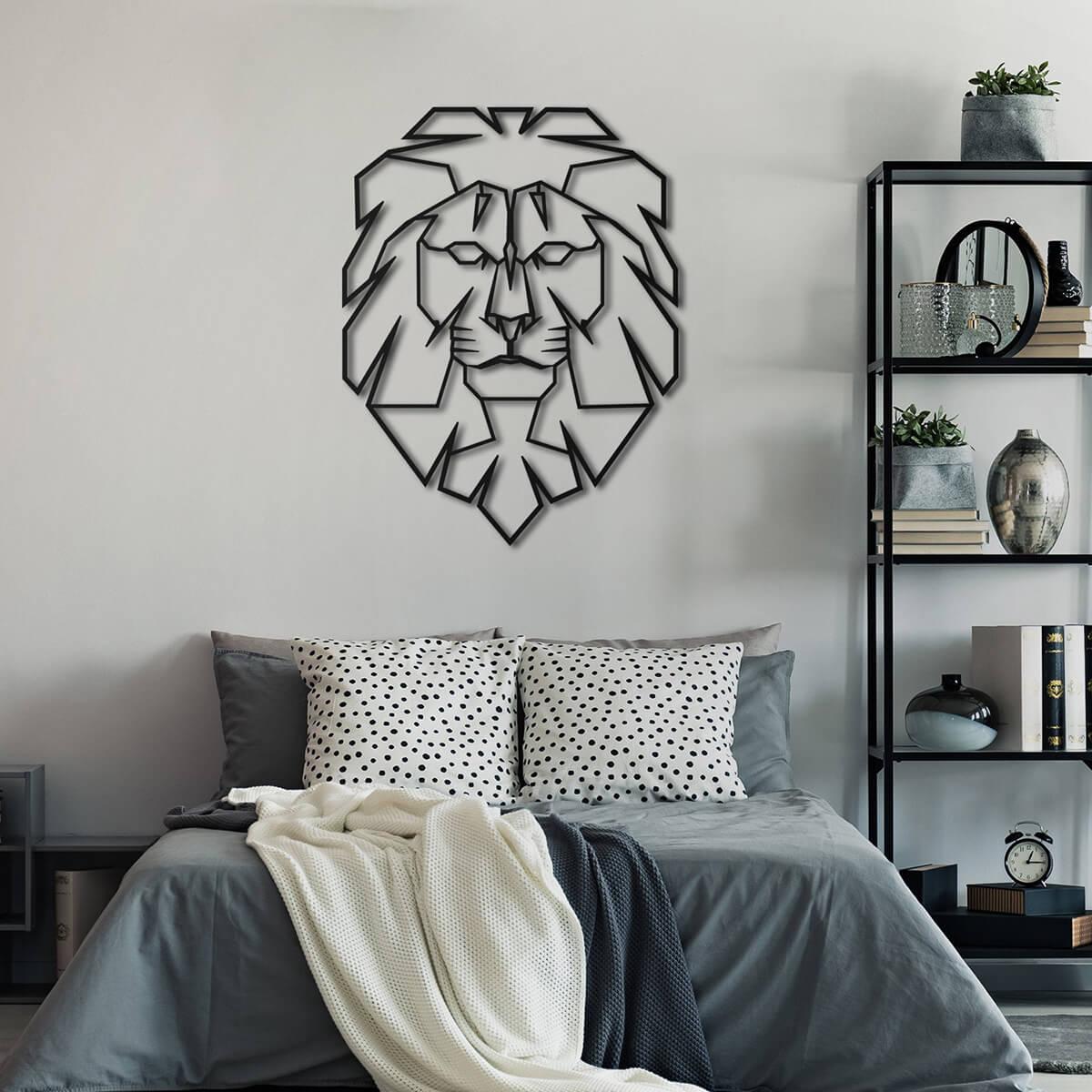 Art mural en métal tête de lion Leo