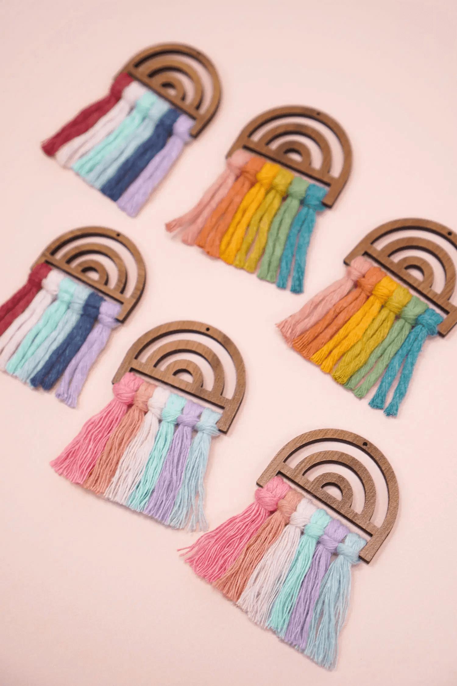 Boucles d'oreilles en Macramé multicolore