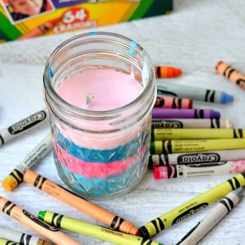 Bougie aux crayons