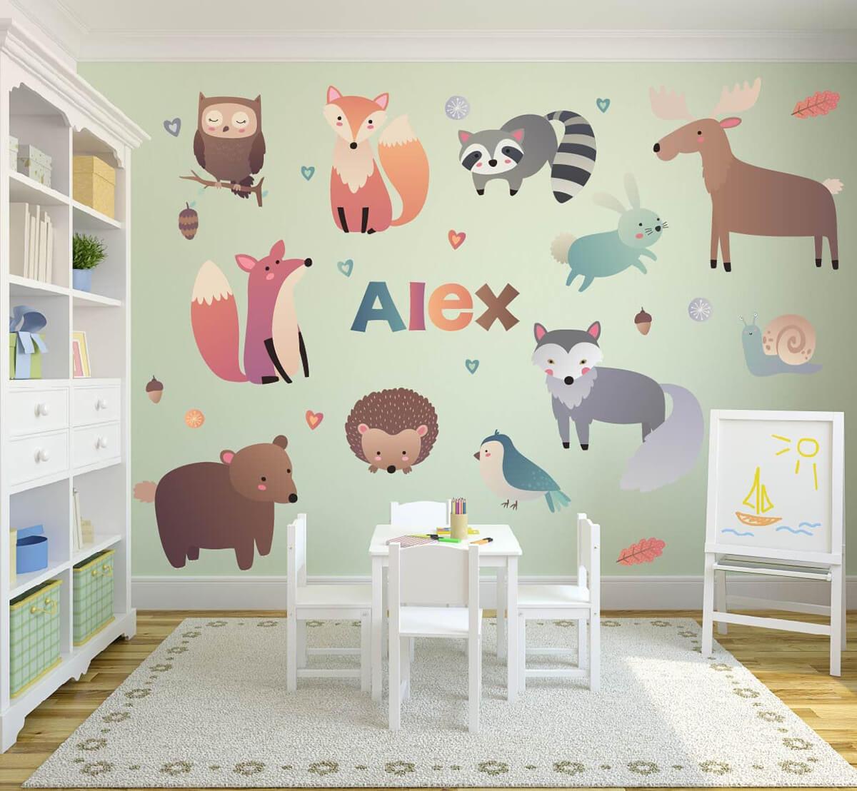 Décoration murale sur le thème de la forêt et des animaux de dessin animé