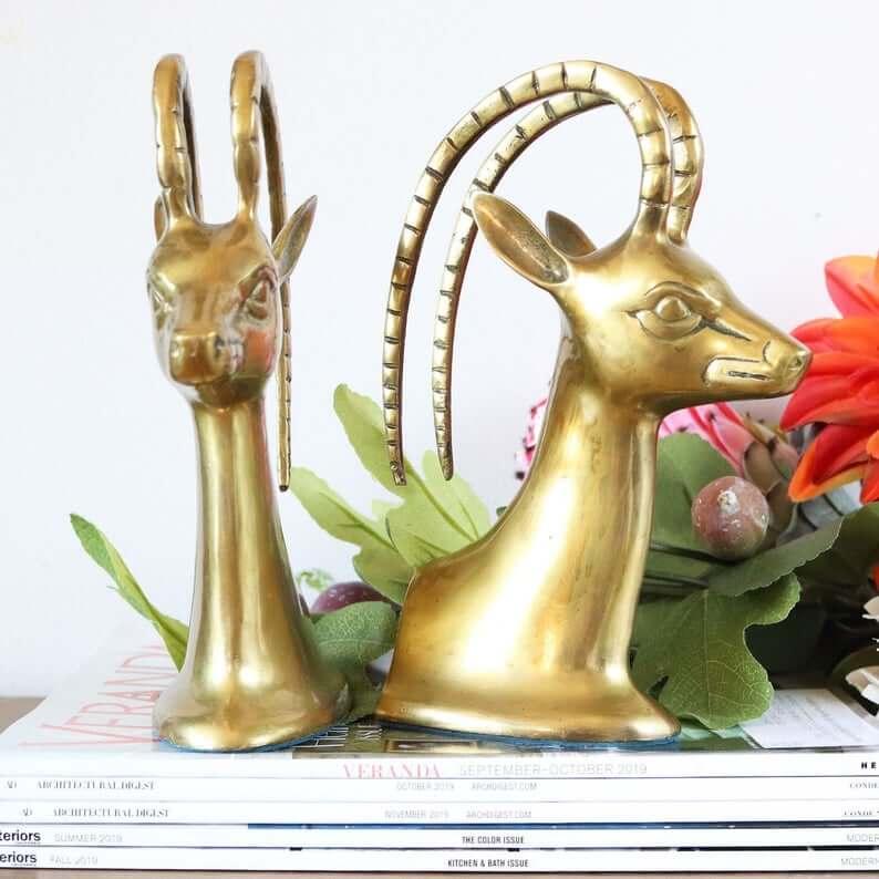 Figurines serre-livres vintage Gazelle en laiton