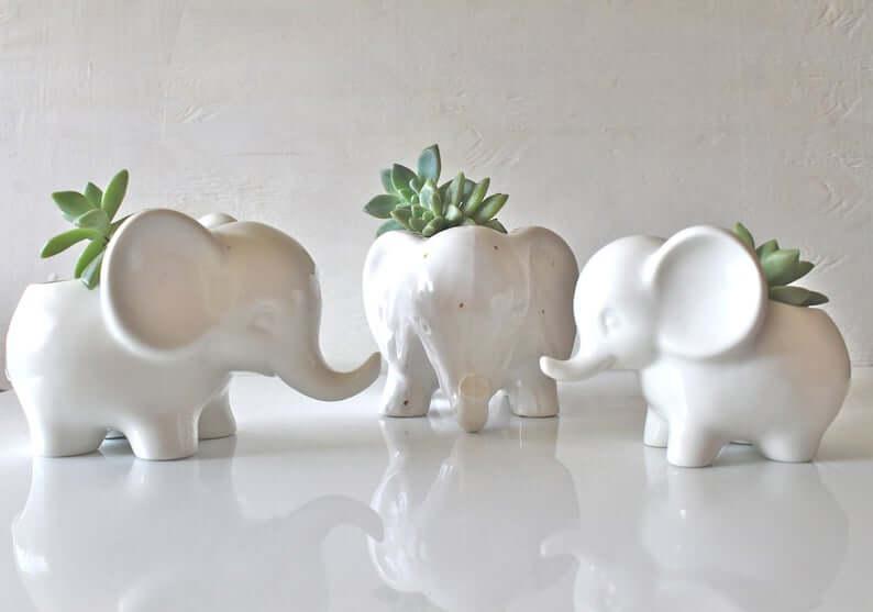 Jardinières décoratives en céramique pour mini-éléphants