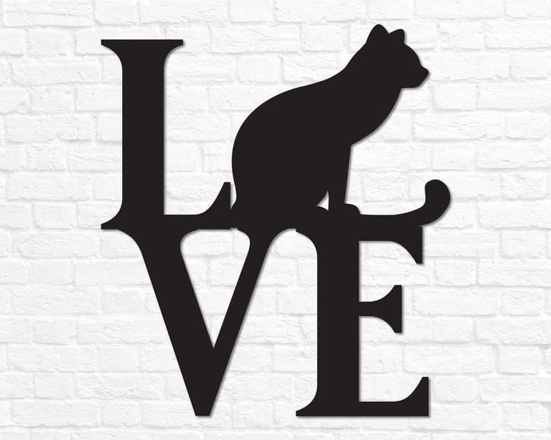 "Signe mural en métal ""Cat Love"""