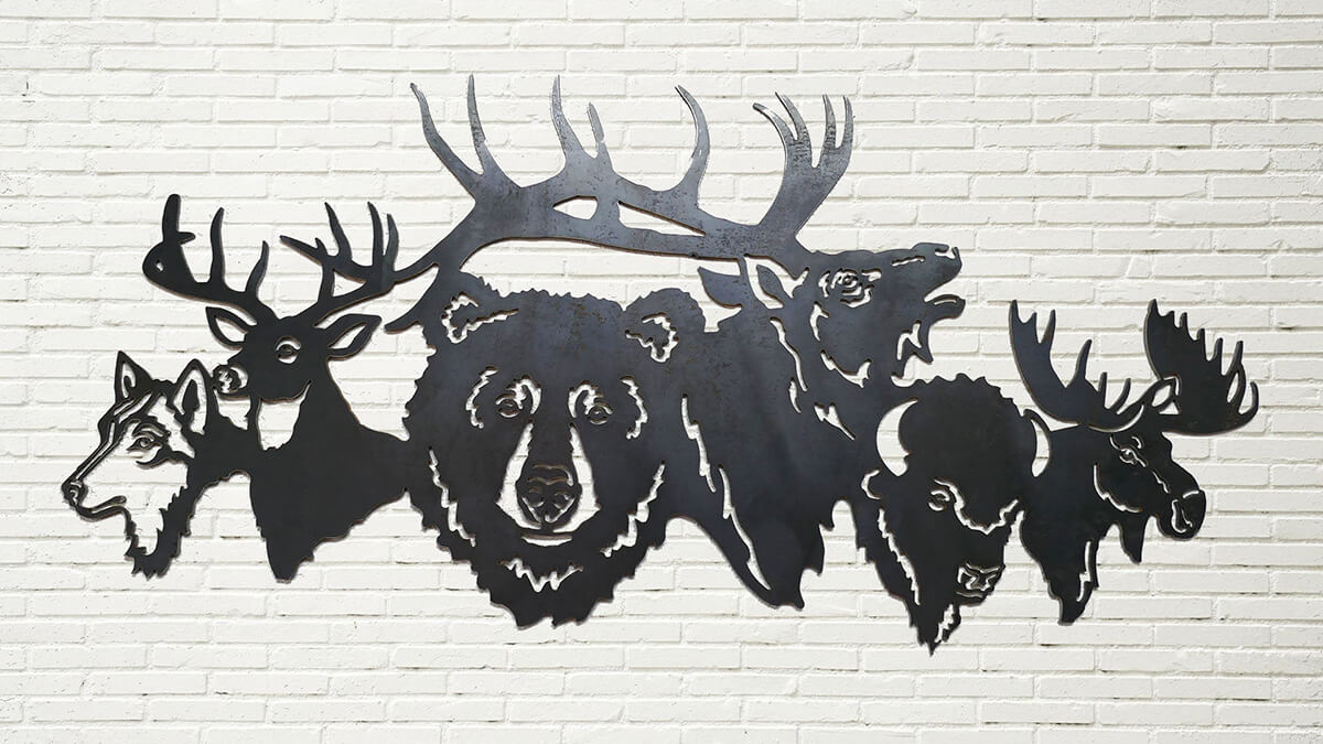 Tableau mural unique en métal avec scène d'animaux