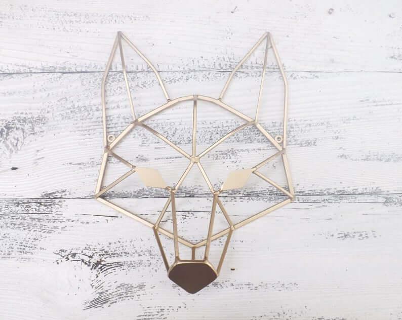 Tête de renard géométrique cool en fer