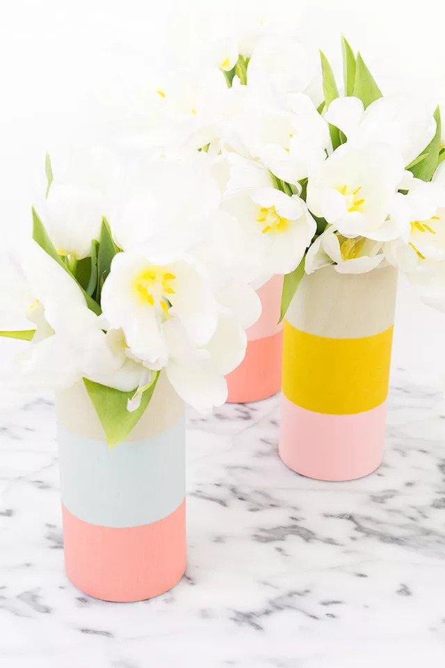 Vase en bois coloré DIY