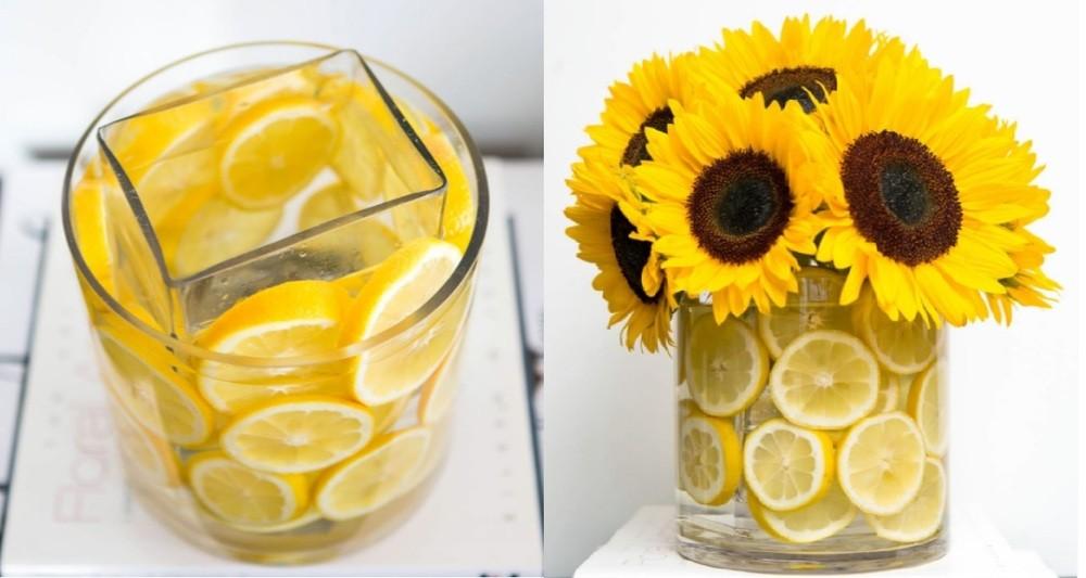 Vase à fleurs au citron